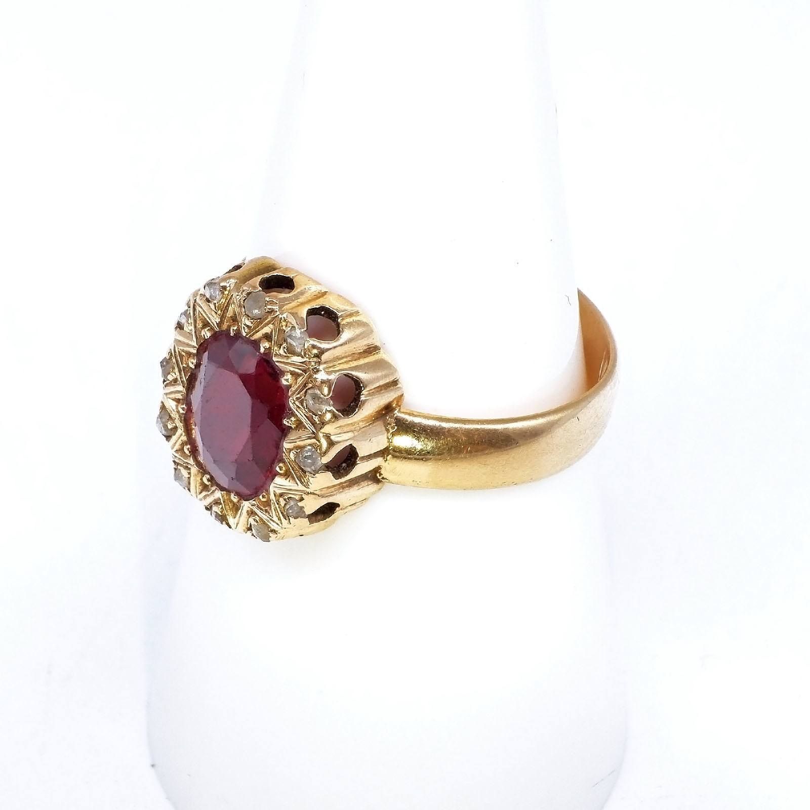 'Antique 15ct Yellow Gold Ring Oval Facetted Garnet Topped Doublet in Bead Setting, Border around Twelve Rose Cut/Uncut Diamonds Circa 1880, 4.5g'