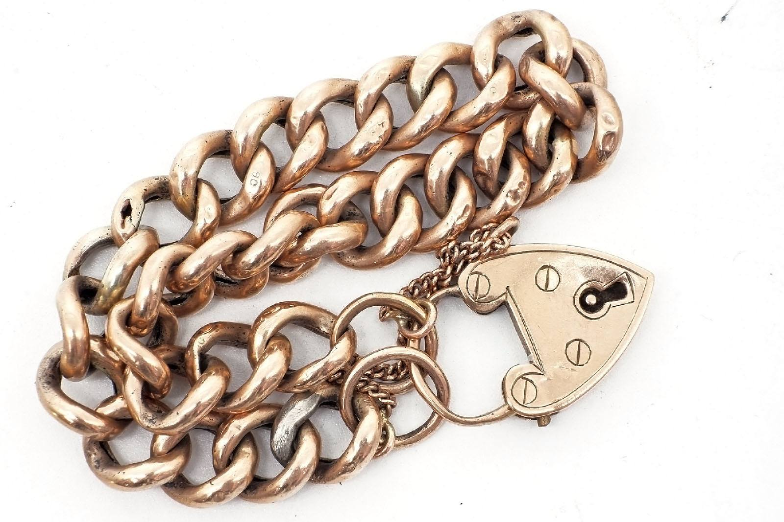 '9ct Rose Gold Hollow Curb Link Bracelet with Heart Lock, 11.8g'