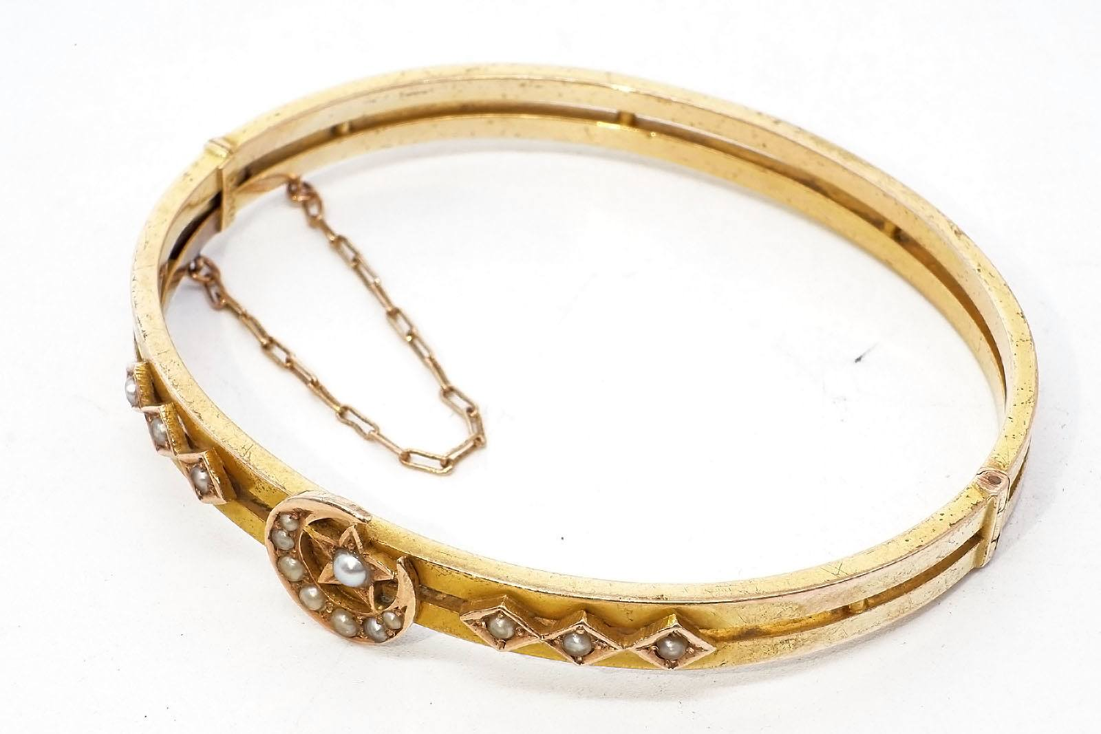 '15ct Yellow Gold Hinged Bangle, Top with Crescent Moon and Star with Six Diamond Shaped Boxes all Set with Half Seed Pearls, 9.7g'