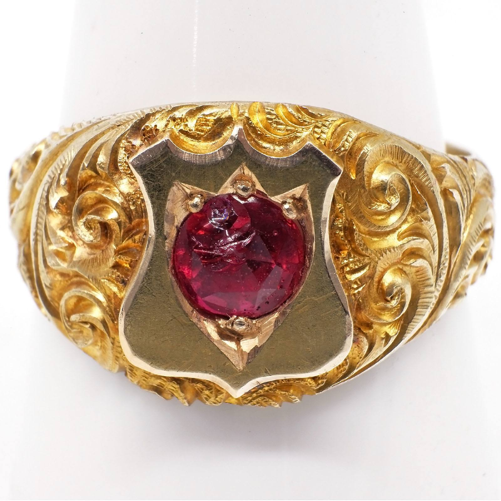 'Antique 22ct Yellow Gold Gents Shield Ring with at Centre a Round Garnet Topped Doublet Set into the Shield, Heavily Hand Engraved Finish to Band, 8.2g'