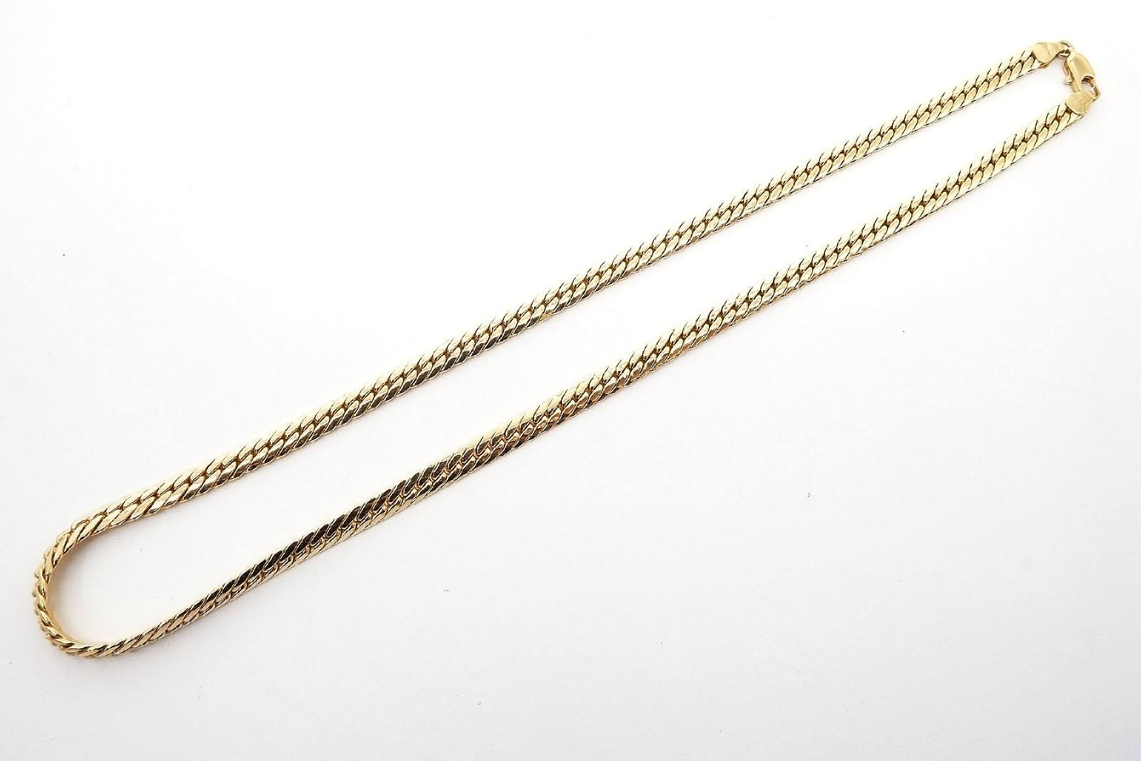 '9ct Yellow Gold Hollow File Curb Link Chain, 13.25g'