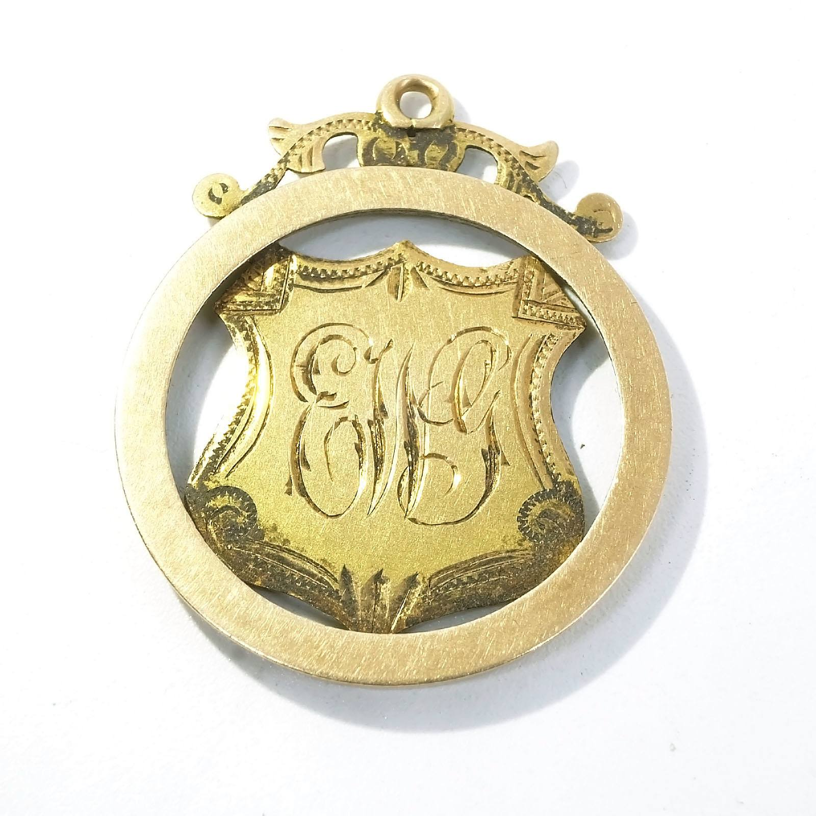 'Antique Australian 15ct Yellow Gold Shield Pendant with Engraved Finish, 2.10'