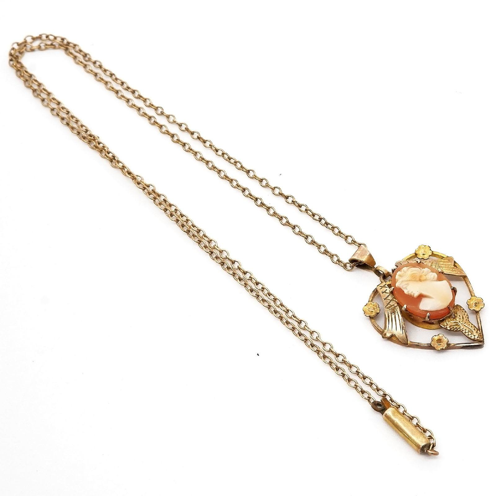 'Antique Rolled Gold Pendant with Shell Cameo on a Curb Link Chain'