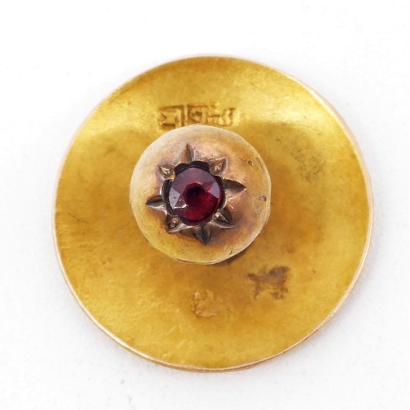 '15ct Yellow Gold Button with Garnet Top Doublet, 1.5g '