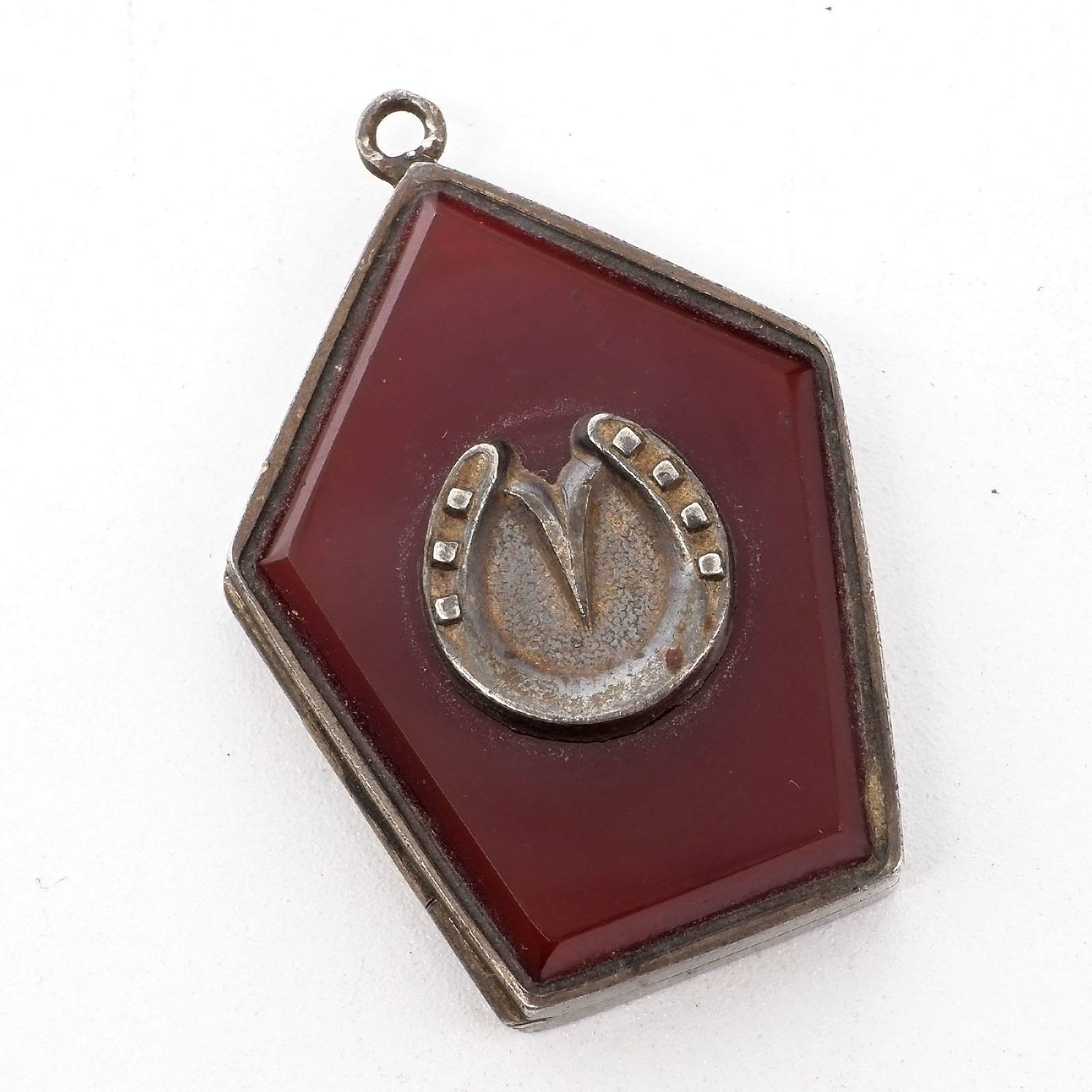 'Victorian Sterling Silver Hinged Locket with Agate and Horse Shoe Insert, Birmingham, Michael Joseph Goldsmith, 1884'