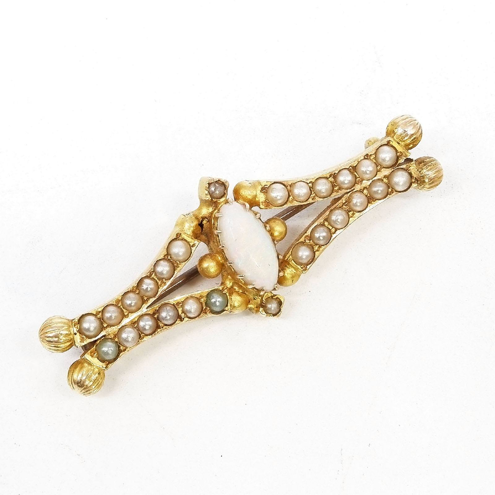 'Antique 15ct Yellow Gold Bar Brooch with at Centre Marquite Cabouchon of Solid White Opal and Paste Beads to Imitate Half Seed Pearls, 5.3g'