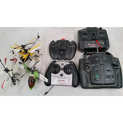 Three Remote Control Mini Helicopters and Four Controllers