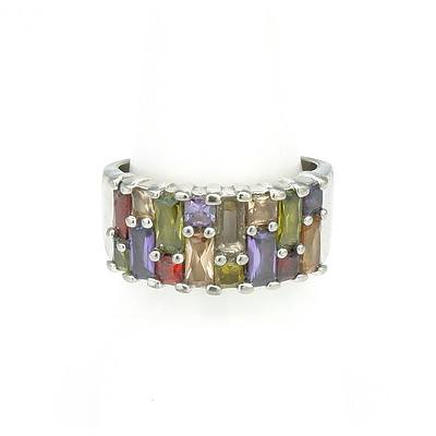 Sterling Silver with Baquette Cut Coloured Gems in Claw Settings