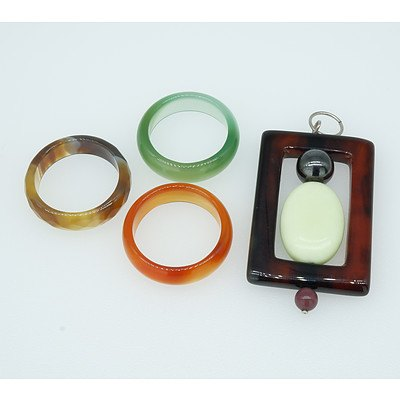 Three Agate Rings and an Agate pendant