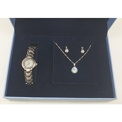Bell and Rose Earring, Necklace and Watch Set