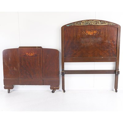 Pair of Continental Art Nouveau Marquetry Inlaid and Mental mounted Walnut Single Bedsteads