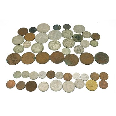 Collection of Australian and International Coins, Including Florins, Pennies, Shillings, Half Pennies, and More