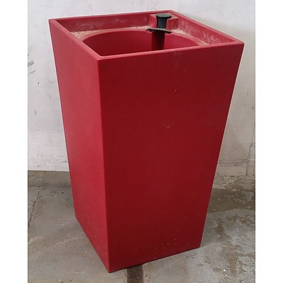 Matte Red Square Top Sub Irrigation Pot - Lot Of 5