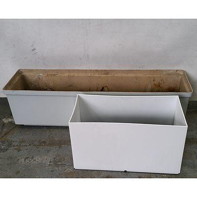 Gloss White Rectangle Planter Box - Lot Of 2