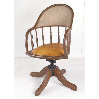 Vintage Painted Oak and Rattan Back Captain's Chair