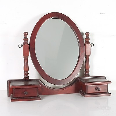 Contemporary Stained Pine Dresser Mirror