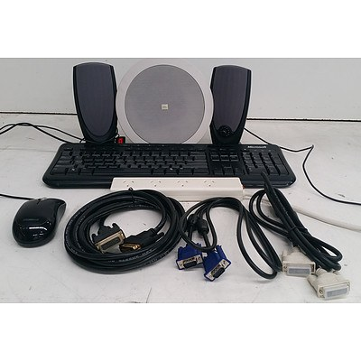 Bulk Lot of Assorted IT Accessories - Keyboards, Cables & Speakers