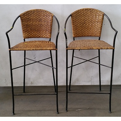 Wicker Bar Chairs/Stools - Lot Of 2