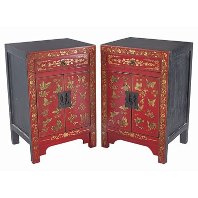 Pair of Small Chinese Polychrome Lacquered Cabinets with Butterflies, Late 20th Century