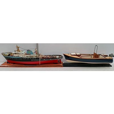 Vintage Hand Made Model Boat and Ship - Lot of Two