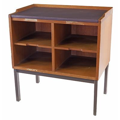 Vintage Steel and Teak Magazine Stand From The National Library of Australia
