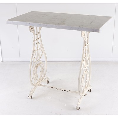 Antique Painted and Cast Metal Sewing Table with Later Marble Top