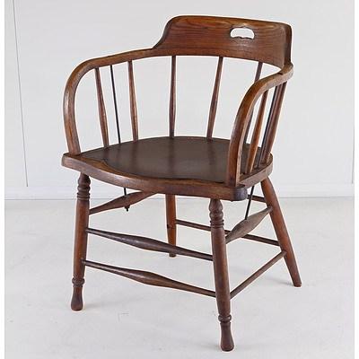 Vintage Oak Captain's Chair