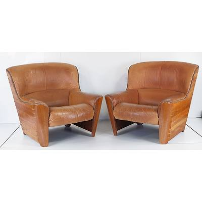 Exotic Palmwood and Tan Leather Lounge Suite