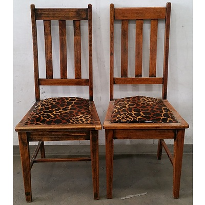 Stained Timber Leopard Print Chair - Lot Of 2
