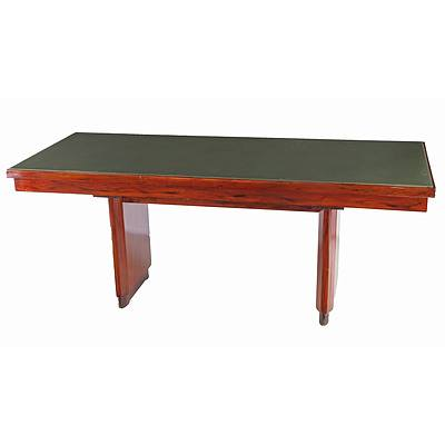 Vintage Library Table with Green Faux Leather Top