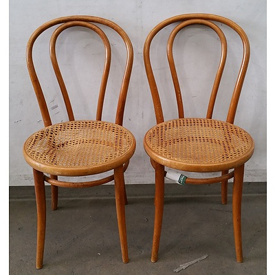 Two Antique Bentwood Chairs With Woven Seats