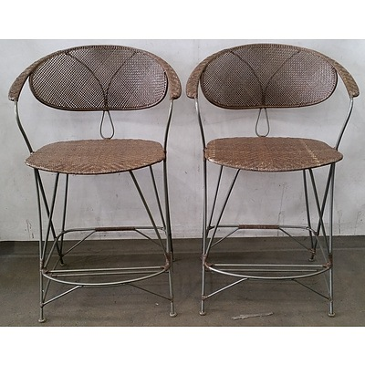 Woven Steel Framed Chair - Lot Of 2