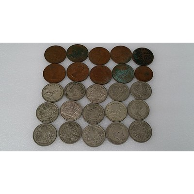 Selection of Australian Pennies, Half Pennies and Shillings