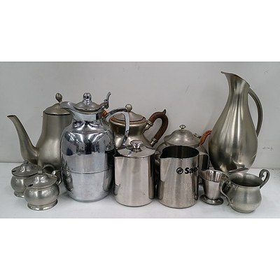 Selection of Pewter and Stainless Steel Tea/Coffee Pots, Jugs, Bowls and Strainers