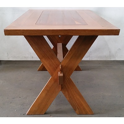 Interesting Contemporary X Frame Dining Table with Mortice and Tenon Stretcher