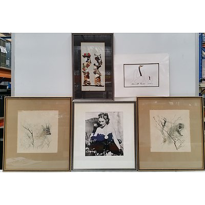 Butterfly Wing Collage, Two Wildlife Offset Prints, Benjamin Chee Chee Offset Print and More