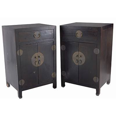 Pair of Chinese Lacquered Cabinets, Late 20th Century