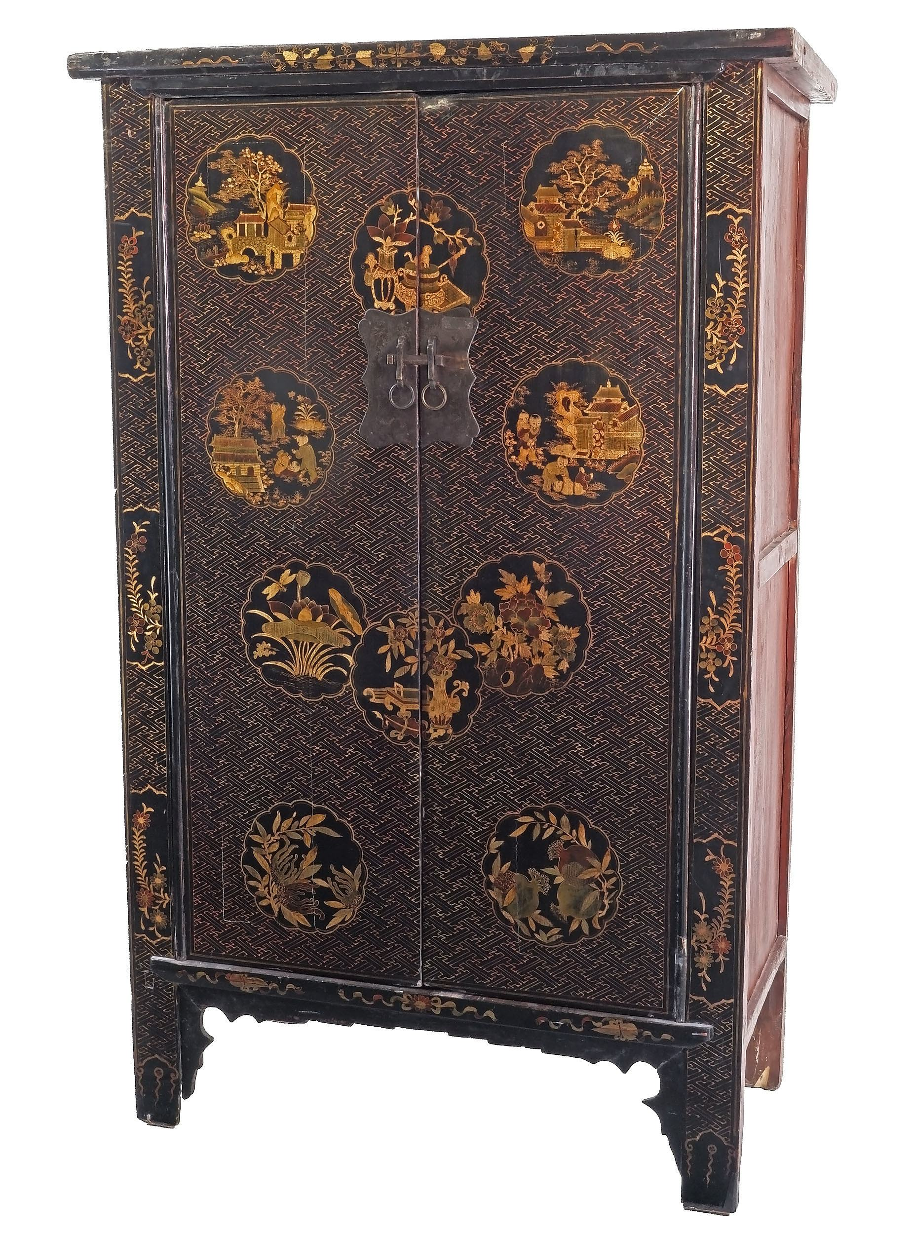 'Large Chinese Export Black and Polychrome Lacquered Cabinet, 20th Century'