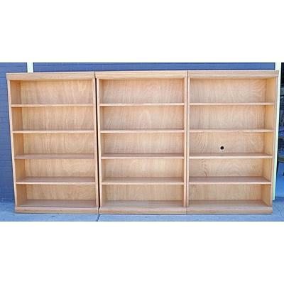 Set of Three Large Custom Built Ash Open Bookcases