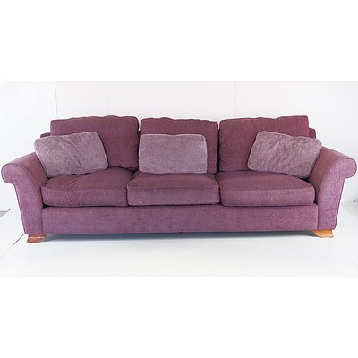 Morgon Purple Fabric Upholstered Three Seater Lounge