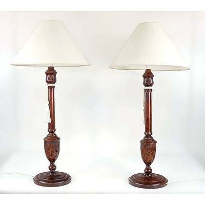 Nice Pair of Vintage Turned and Carved Walnut Table Lamps of Large Proportions