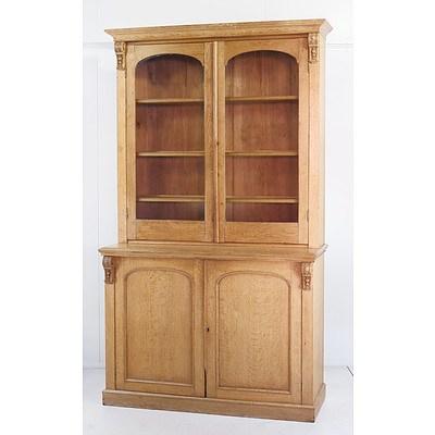Large Victorian Pale Oak Bookcase