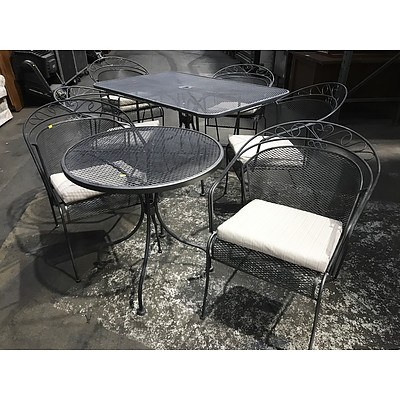 Cast Steel 5 Piece Outdoor Setting with 3 Piece Balcony Setting