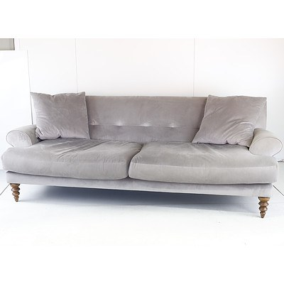 Molmic Grey Fabric Upholstered Three Seater Lounge