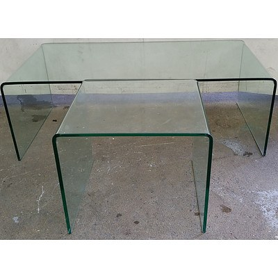 Contemporary Glass Coffee Tables - Lot of Two