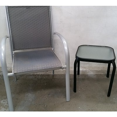 Outdoor Arm Chair and Occasional Table