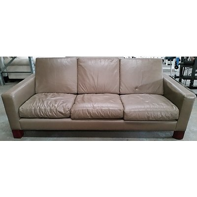 Moran Three Seater Leather Lounge