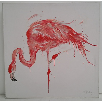 Stretched Canvas Mixed Media Flamingo Print