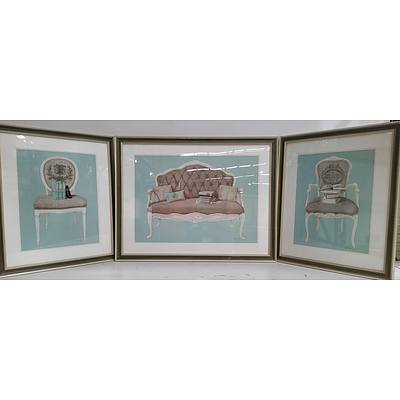 Framed Provincial Furniture Prints - Lot of Three