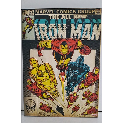 Retro Marvel Comics Iron Man Stretched Canvas Print